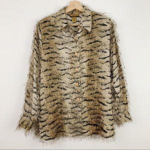 Vintage Tiger Stripe Button Down M Furry Fuzz Ugly